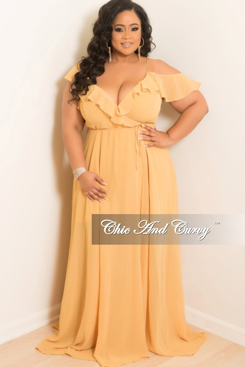 New Plus Size Sleeveless Off the Shoulder Ruffle Wrap Dress with Attach Tie in Mustard Chiffon