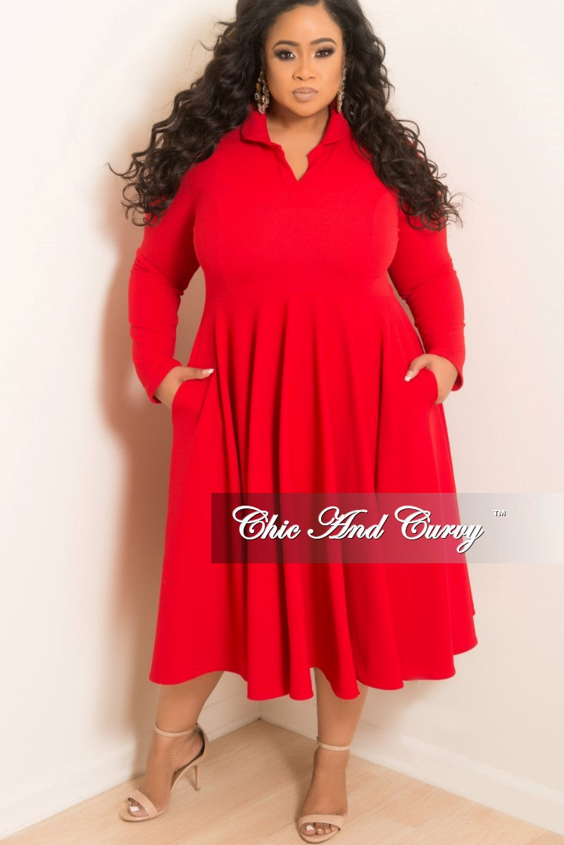 New Plus Size Collar V Neck Flare Dress With 34 Sleeves In Red