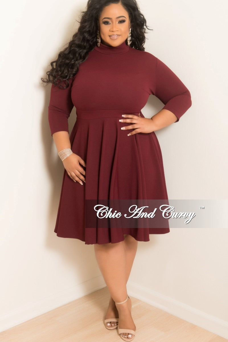 New Plus Size Mock Neck Swing Dress With 34 Sleeves In Burgundy