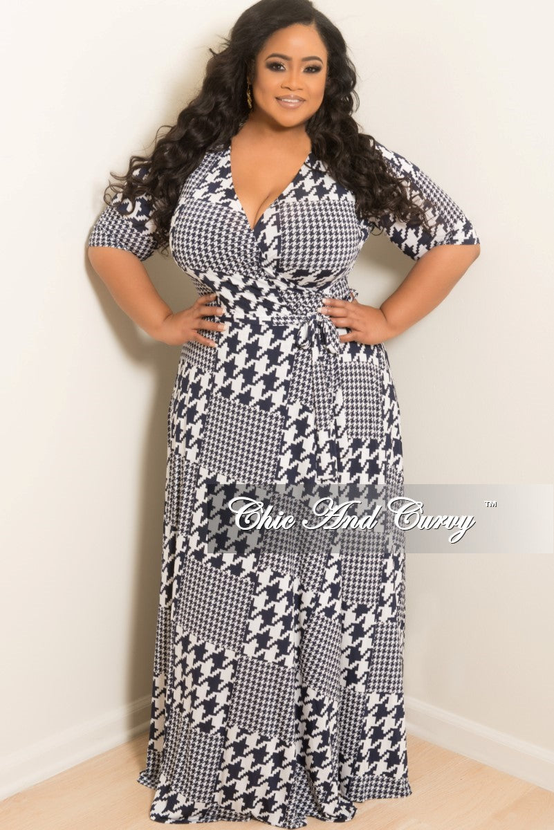 35% Off Sale - Final Sale  Plus Size Long Wrap Dress w/ Short Sleeve and Tie in Navy and White