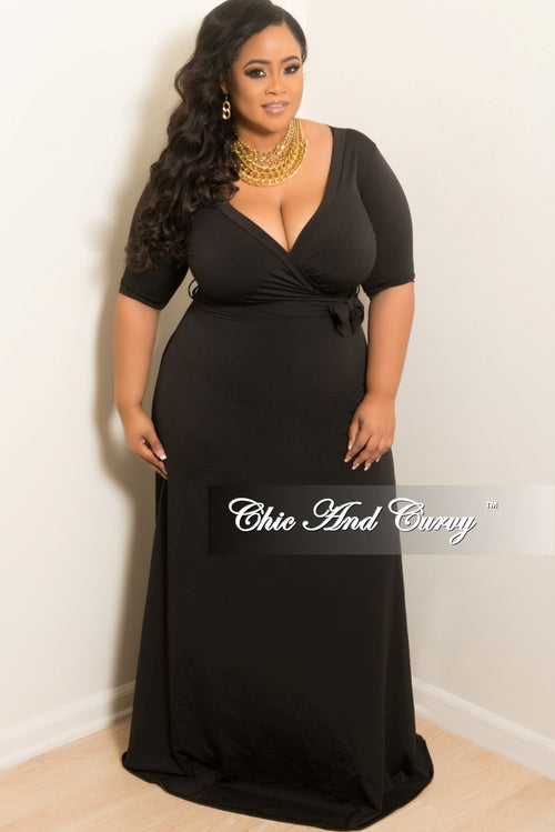 Final Sale Plus Size Faux Wrap Dress with 3/4 Sleeve and Attached Tie in Black