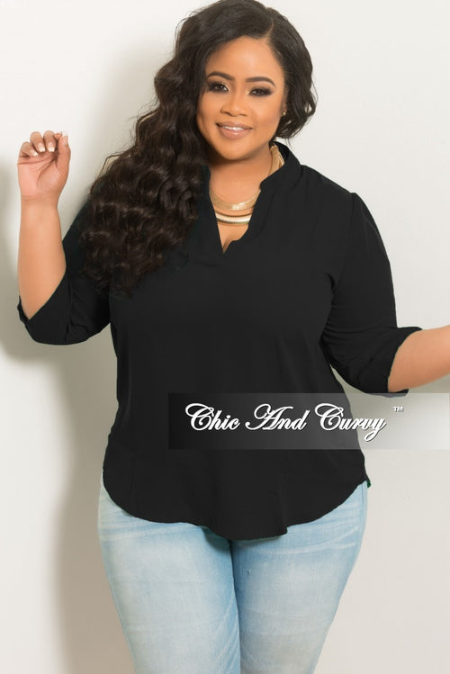 New Plus Size Mesh V-Neck Top in Black