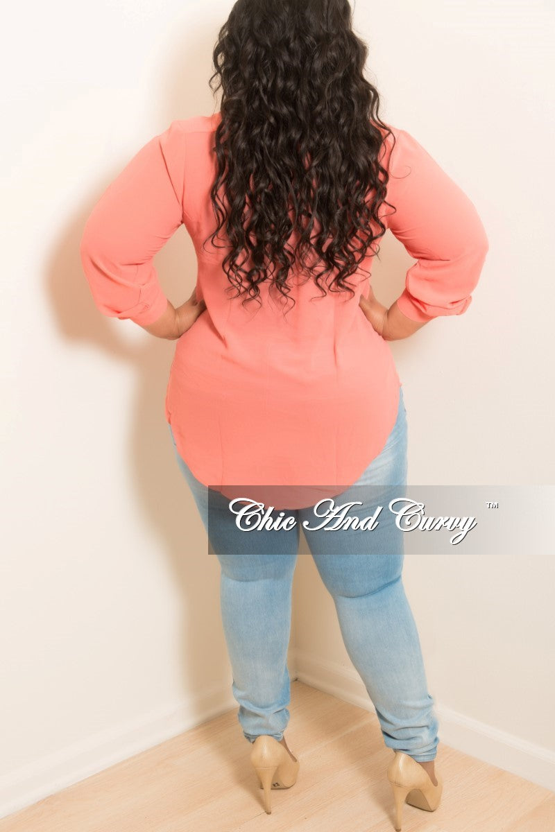 Final Sale Plus Size Mesh V-Neck Top in Coral