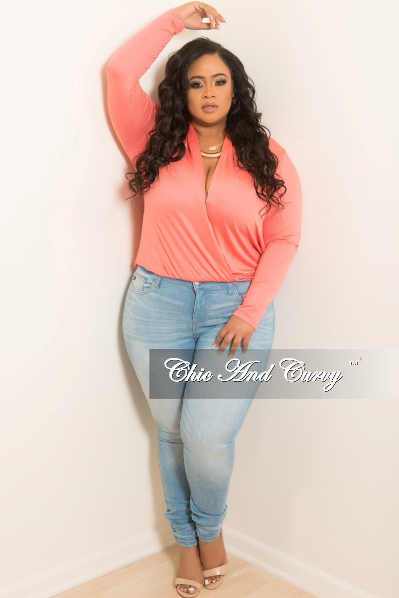 New Plus Size Top with Faux Wrap Front in Coral
