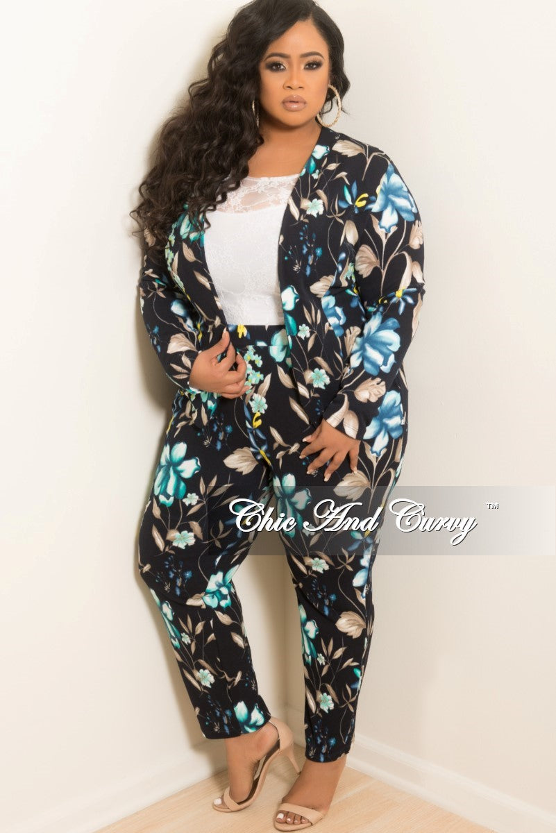 Final Sale Plus Size 2-Piece Jacket and Pant Set in Navy Blue and Teal Floral Print