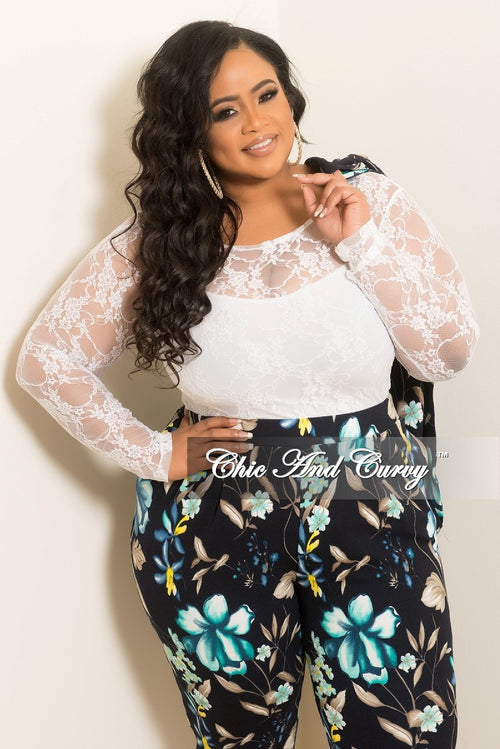 Final Sale Plus Size Lace Top in White