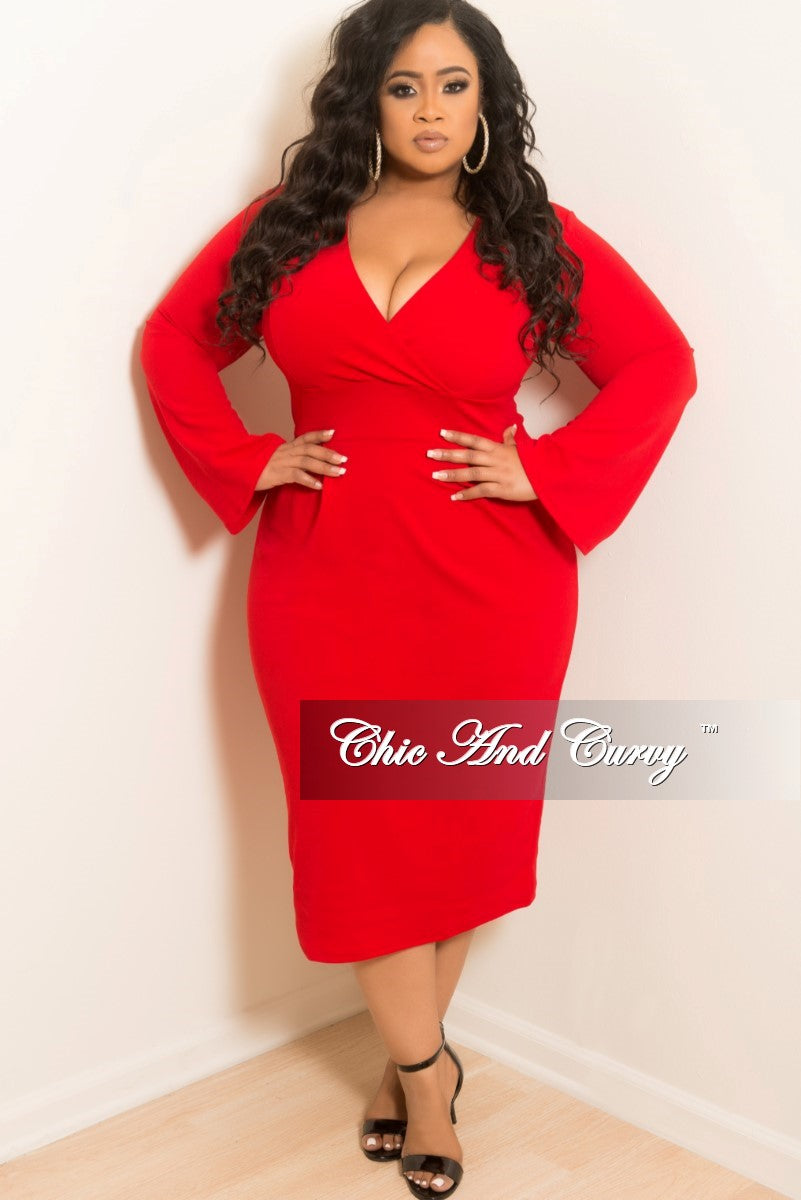 New Plus Size Long Sleeve Faux Wrap Dress in Red