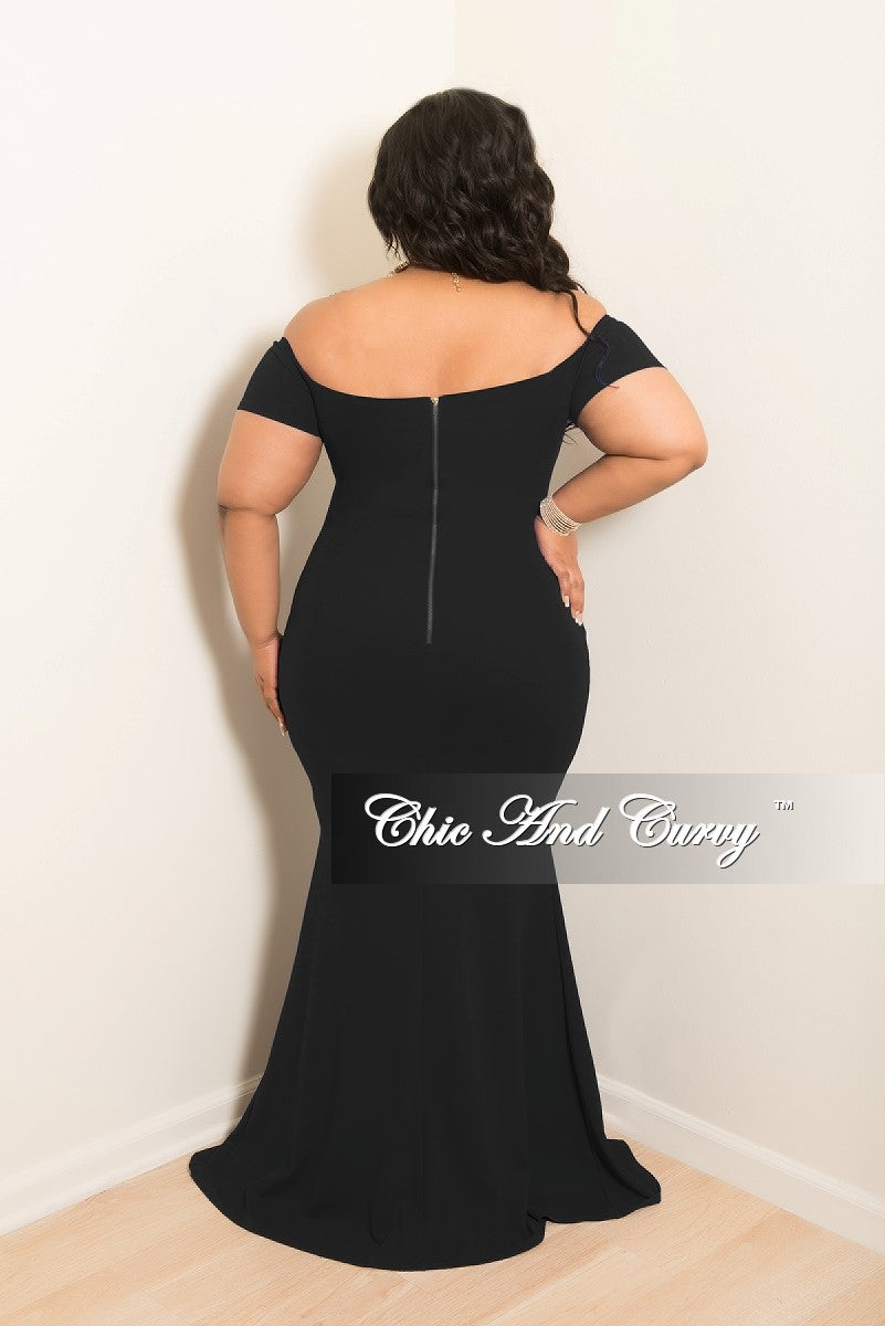 New Plus Size Off the Shoulder Gown with Front Slit and Gold Back Zipper in Black