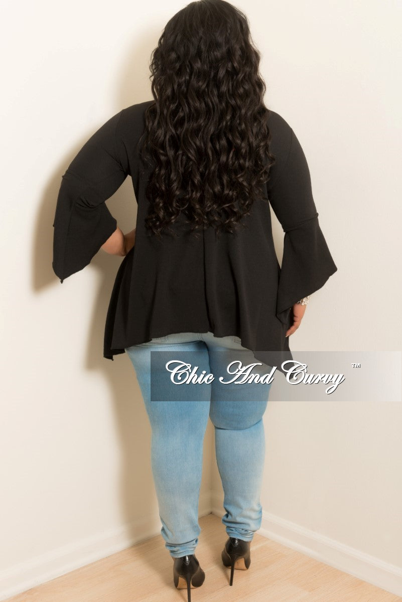New Plus Size High low Top with Bell Sleeves in Black