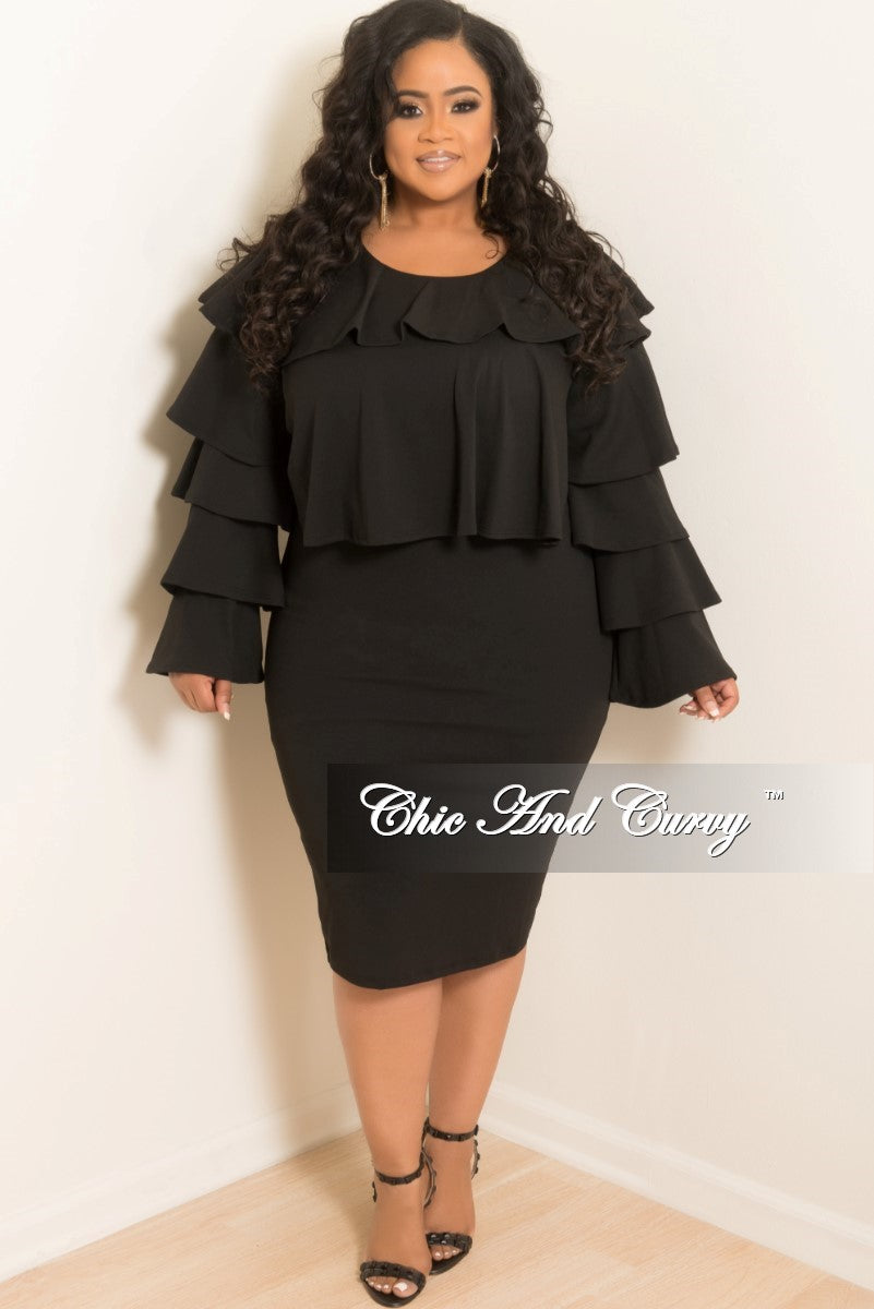 New Plus Size 2 Piece Ruffle Top and Pencil Skirt Set in Black