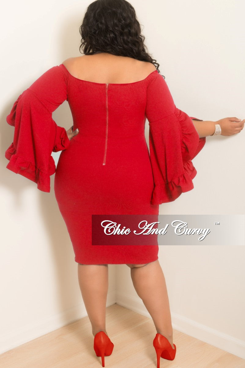 Final Sale Plus Size Off the Shoulder BodyCon Dress with Wide Ruffle Sleeves in Red