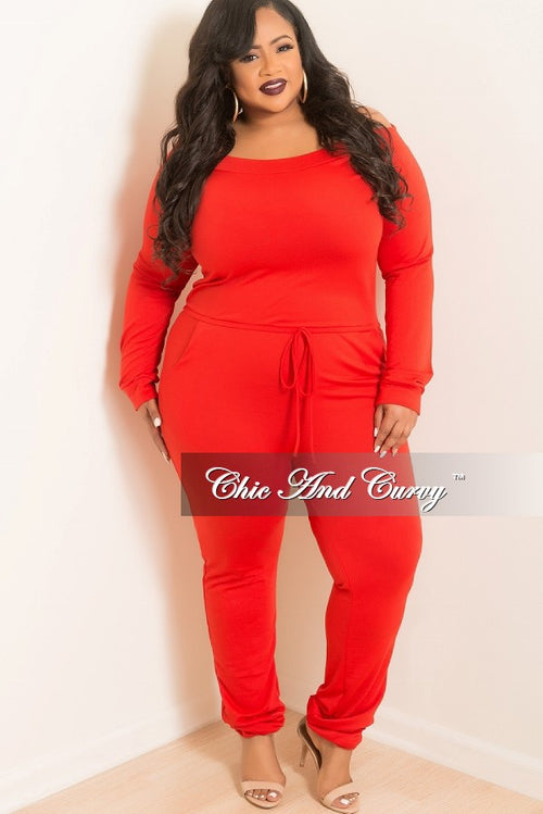 New Plus Size Off the Shoulder Jumpsuit with Tie in Red