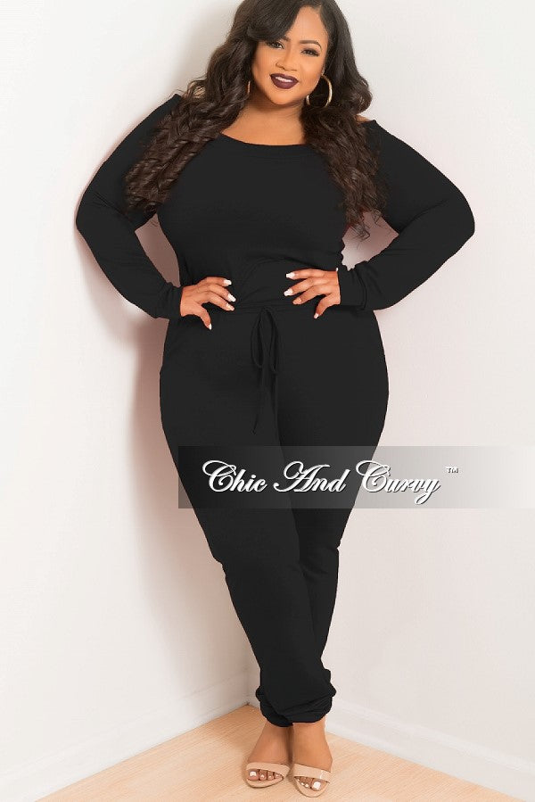 New Plus Size Off the Shoulder Jumpsuit with Tie in Black