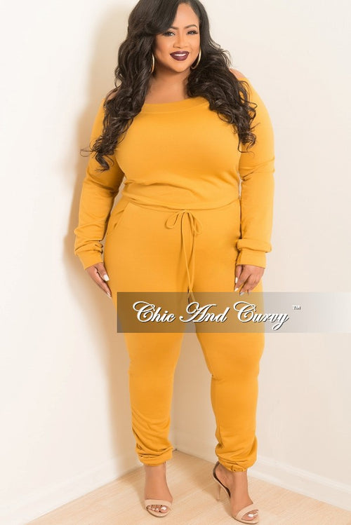 New Plus Size Off the Shoulder Jumpsuit with Tie in Mustard