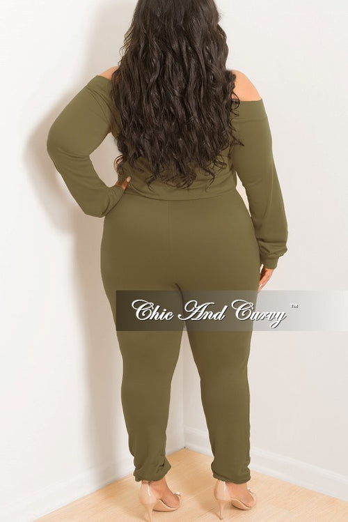 New Plus Size Off the Shoulder Jumpsuit with Tie in Olive