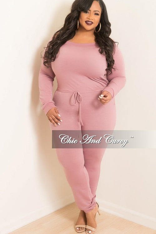 New Plus Size Off the Shoulder Jumpsuit with Tie in Mauve