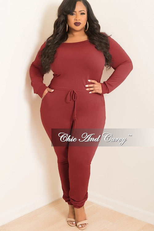 New Plus Size Off the Shoulder Jumpsuit with Tie in Burgundy