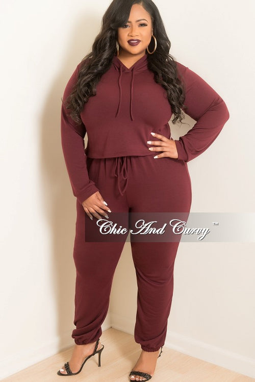 Final Sale  Plus Size 2-Piece Hooded Top and Pants Set in Burgundy