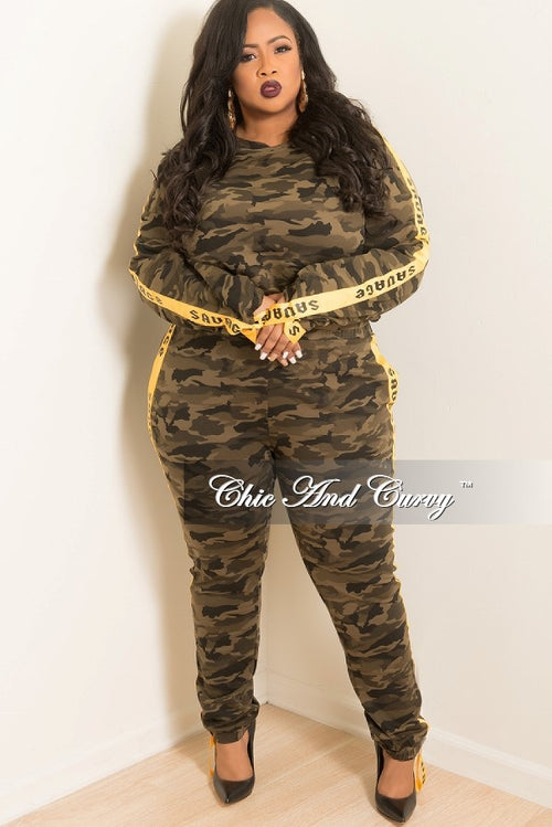 New Plus Size 2 Piece Top and Pants Set with Savage Trim in Camouflage and Mustard Print