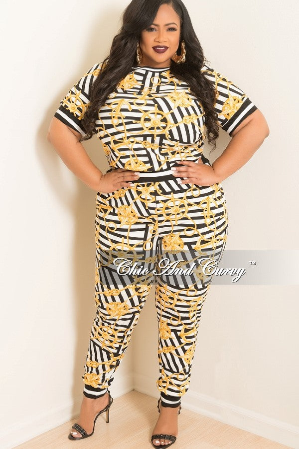 New Plus Size Sporty 2 Piece Round Neck Top and Pants in White, Black and, Gold