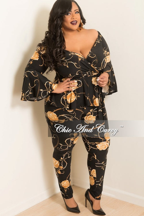 New Plus Size 2 Piece Ruffle Top and Pants Set in Black and Tan Rose Print