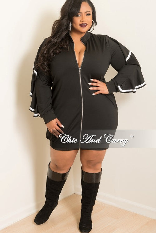 Final Sale  Plus Size Zip-Up Dress with Ruffle Sleeves and White Trim in Black