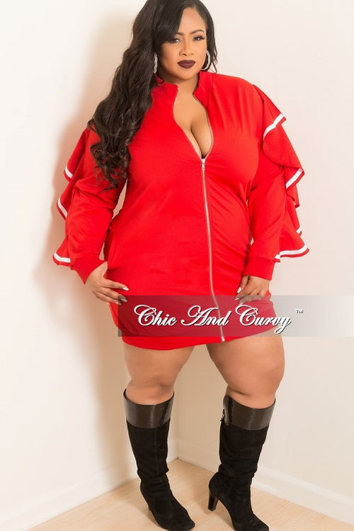 New Plus Size Zip-Up Dress with Ruffle Sleeves and White Trim in Red