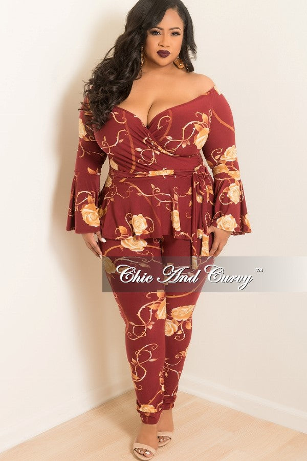 35% Off Sale - Final Sale Plus Size 2-Piece Ruffle Top and Pants Set in Burgundy and Tan Rose Print