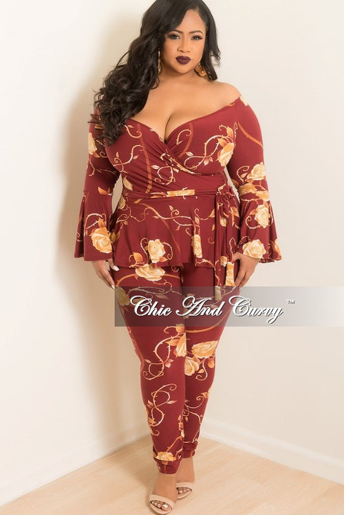 New Plus Size 2 Piece Ruffle Top and Pants Set in Burgundy and Tan Rose Print