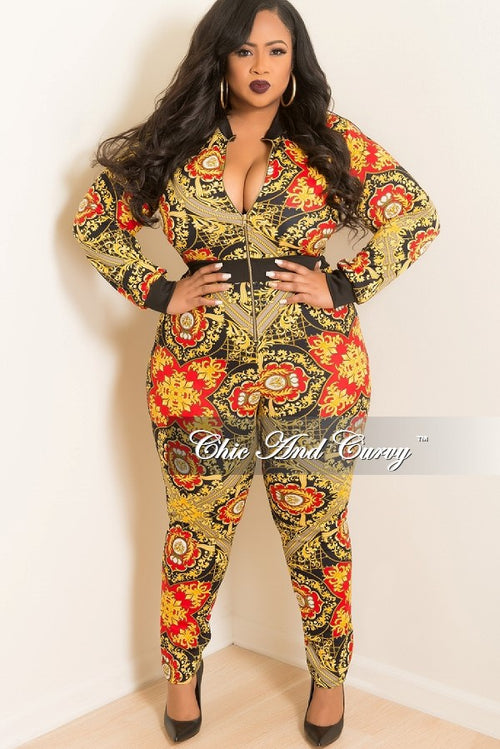New Plus Size Jumpsuit with Front Gold Zipper in Red, Gold, Navy and Black