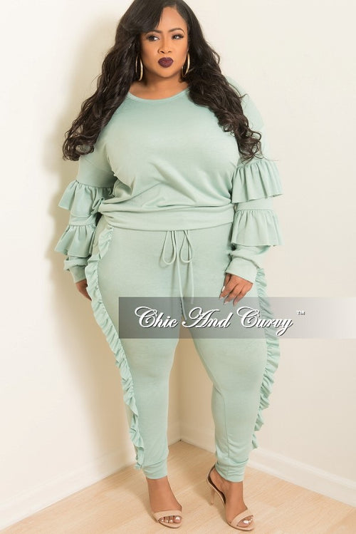 New Plus Size 2-Piece Ruffle Top and Jogging Pants Set in Sage Green