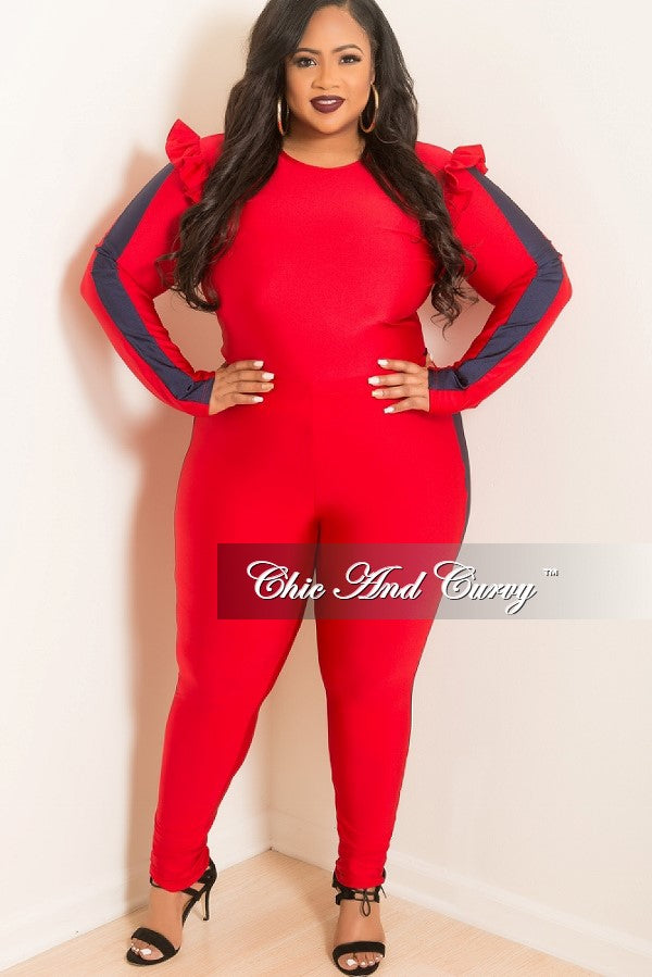 New Plus Size 2 Piece Ruffle Top and Matching Legging Set with Navy Trim in Red