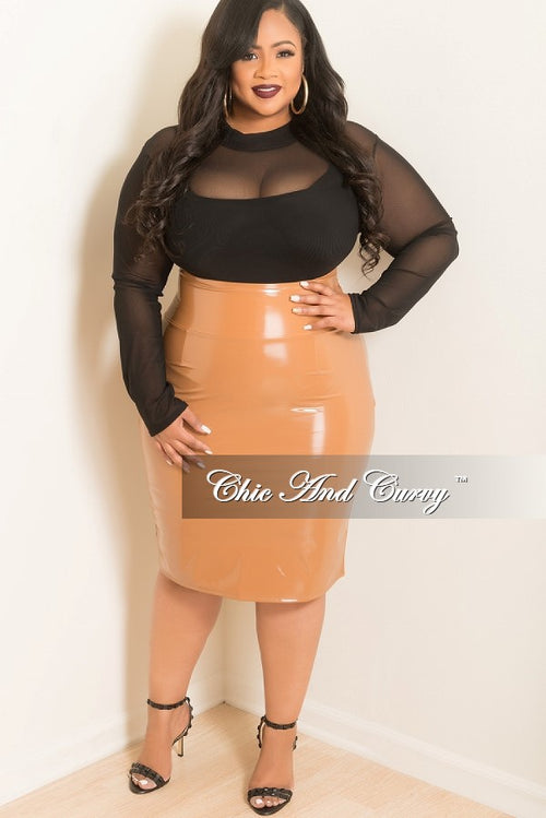 Final Sale Plus Size Patent-Leather Pencil Skirt with Silver back Zipper in Tan