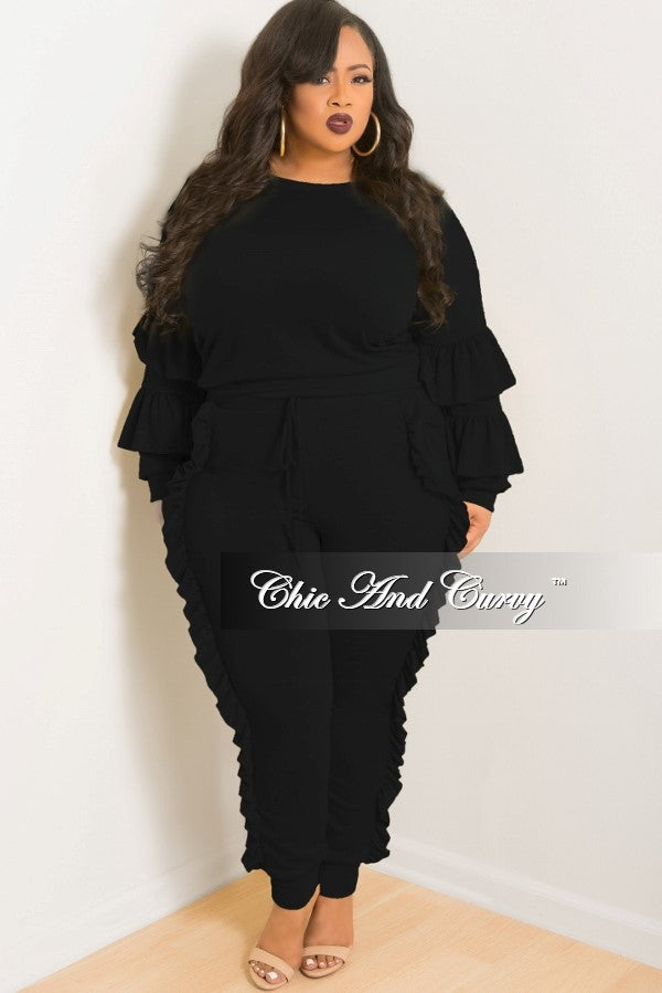 New Plus Size 2-Piece Ruffle Top and Jogging Pants Set in Black