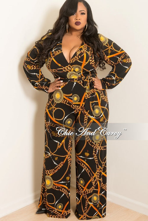 New Plus Size Long Sleeve Faux Wrap Jumpsuit with Attached Tie in Black, Rust and Mustard Chain Print