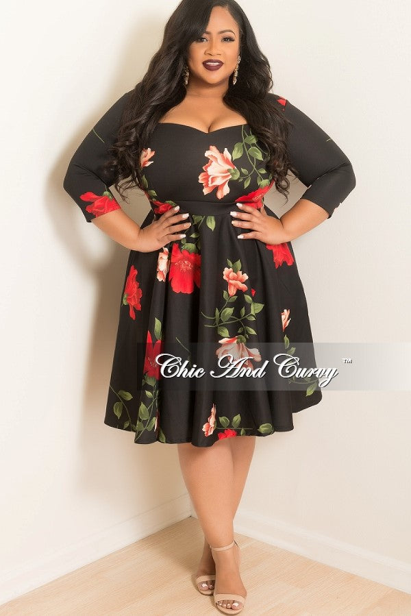 New Plus Size Floral Skater Dress with Sweetheart Neck Line and 3/4 Sleeves in Black