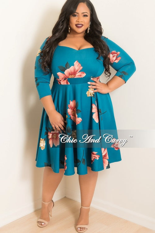 New Plus Size Floral Skater Dress with Sweetheart Neck Line and 3/4 Sleeves in Teal