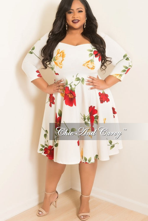 Final Sale Plus Size Floral Skater Dress with Sweetheart Neck Line and 3/4 Sleeves in White
