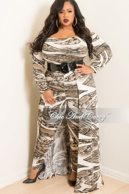 New Plus Size Jumpsuit with Attached Long Skirt in Ivory and Black Snake Print