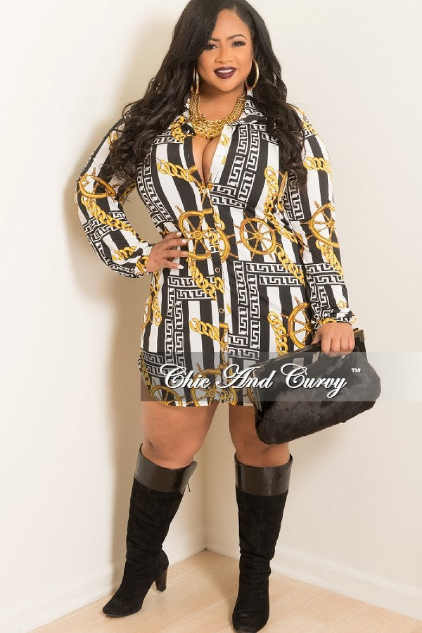New Plus Size Shirt Dress with Tie in Gold, Black, & White Chain ...