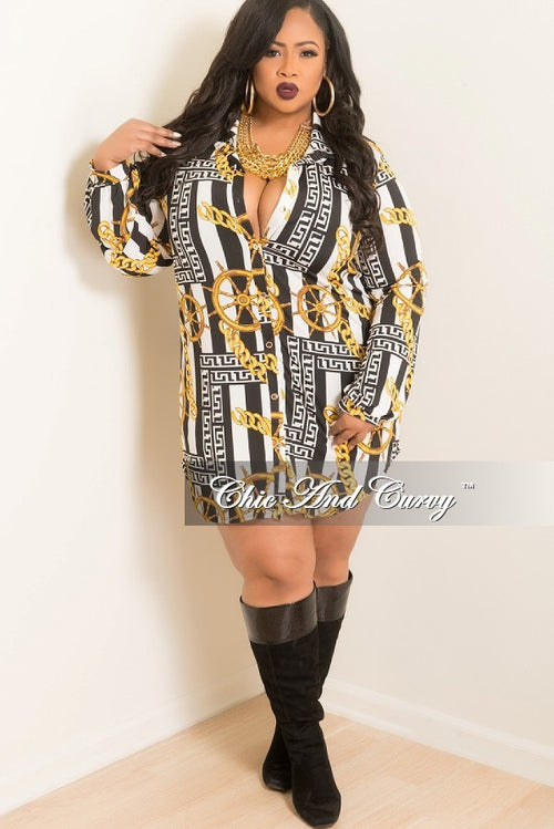New Plus Size Shirt Dress with Tie in Gold, Black, & White Chain Print
