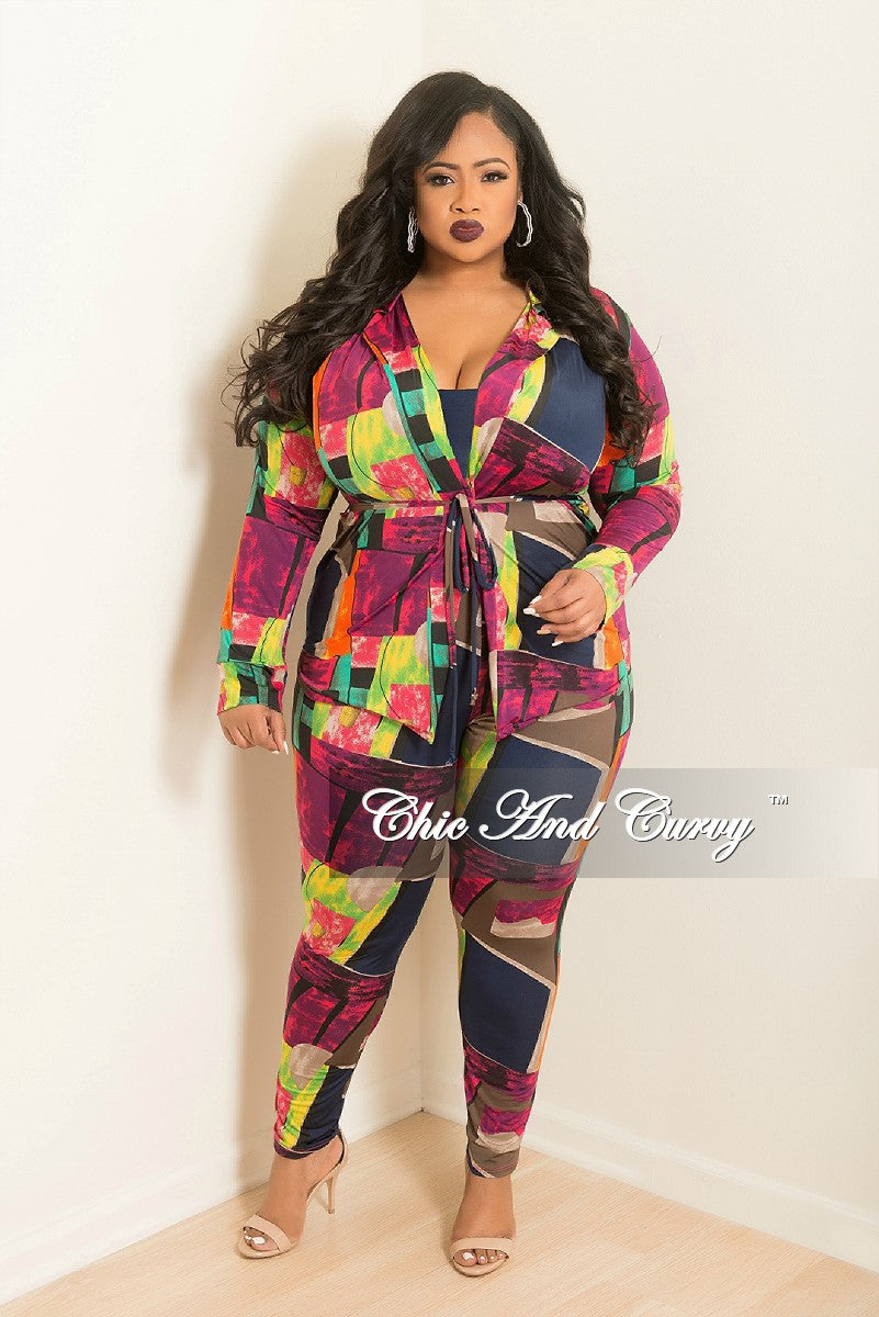 New Plus Size 2-Piece Lounge Set with Tie in Multi Color Print
