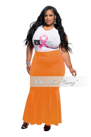 New Plus Size Long Maxi Skirt in Blue and Peach Brush Stroke Print