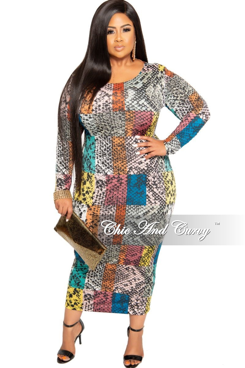 Final Sale Plus Size BodyCon Midi Dress in Multi Color Snake Print