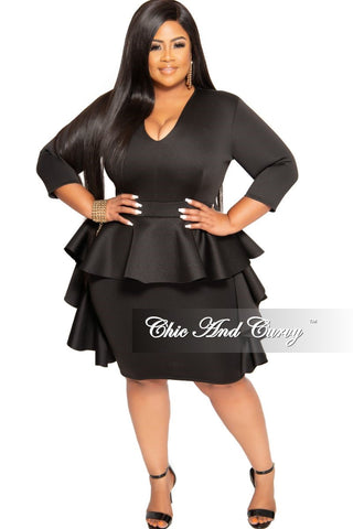 New Plus Size Peplum Top with Ruffle Sleeves in Fuchsia