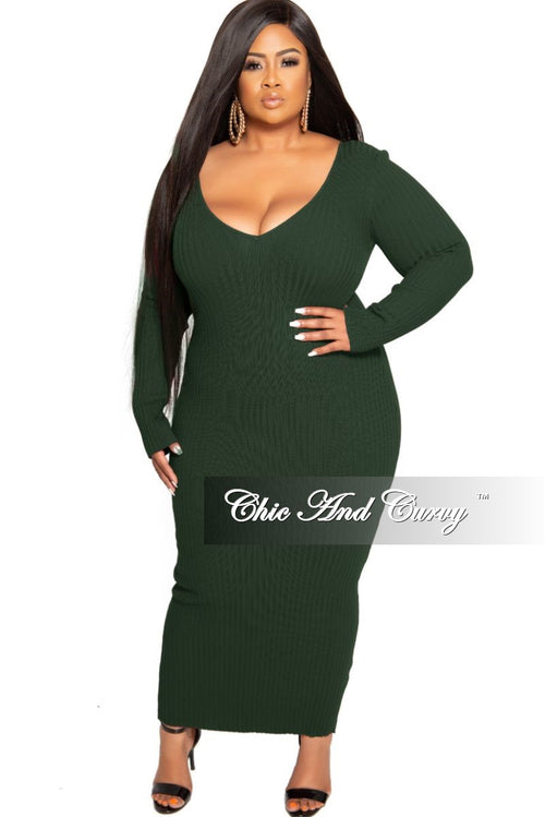 Final Sale Plus Size BodyCon Ribbed Knit Dress in Hunter Green
