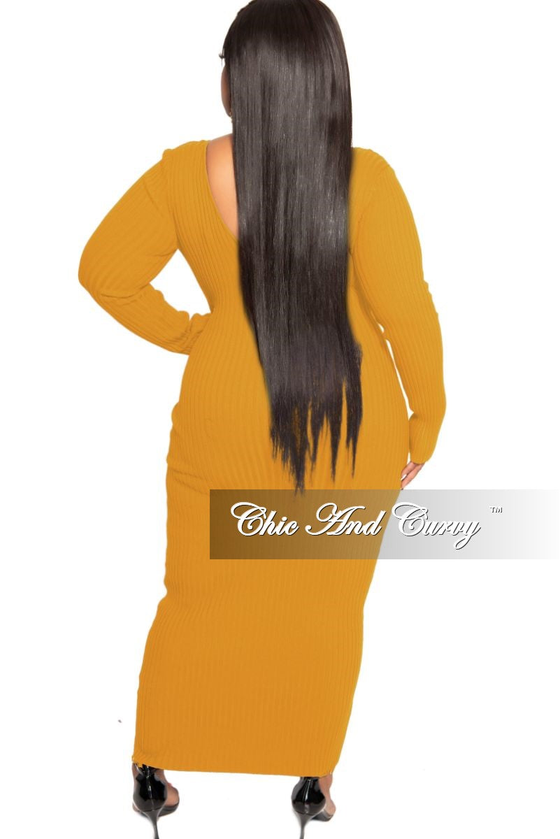 Final Sale Plus Size BodyCon Ribbed Knit Dress in Mustard
