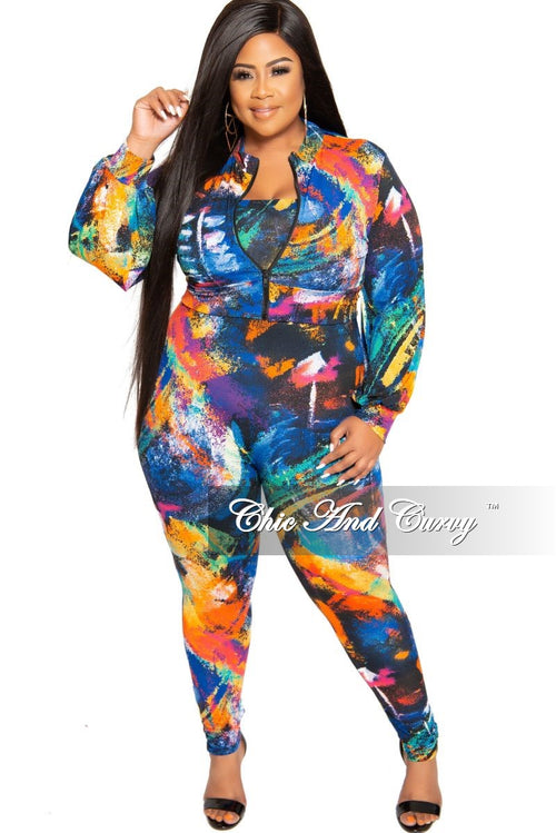 New Plus Size 2-Piece Tube Jumpsuit with Matching Zip-Up Jacket in Multi Color Print