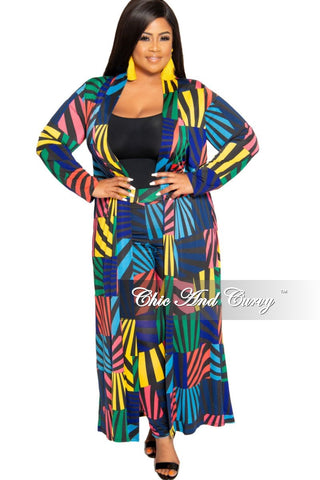 Final Sale Size Shimmer Long Maxi Skirt in Royal Blue Pink Black and Green Zig-Zag Print