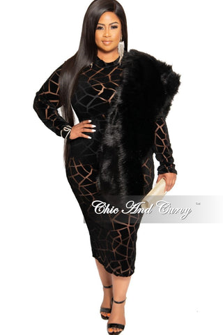 *Final Sale Faux Fur Stole/Wrap in Black (Seasonal)